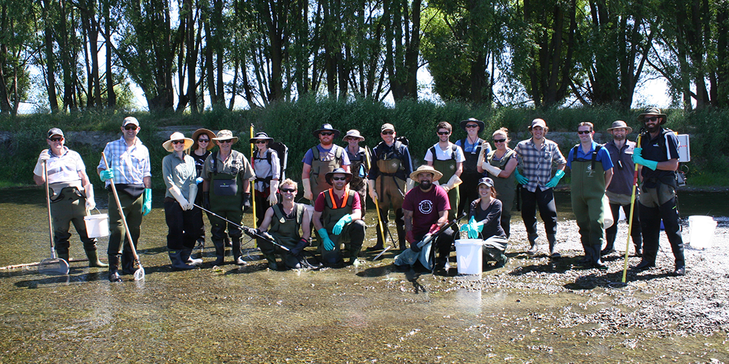 Patrick Cooney led a group of 20 researchers for an electrofishing and eDNA workshop. These scientists are from Hawkes Bay Regional Council, Waikato Regional Council, Taranaki Fish & Game, Wellington Fish & Game, and the University of Otago.