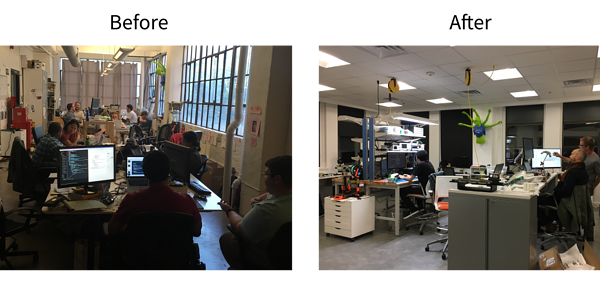 Biomeme's office space before and after.