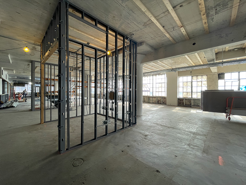 metal framing in place in construction of new headquarters