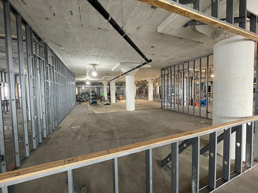 different perspective of metal framing and construction of headquarters