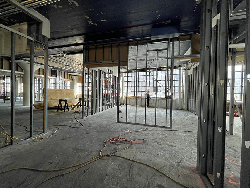 framing and wires of new headquarters construction