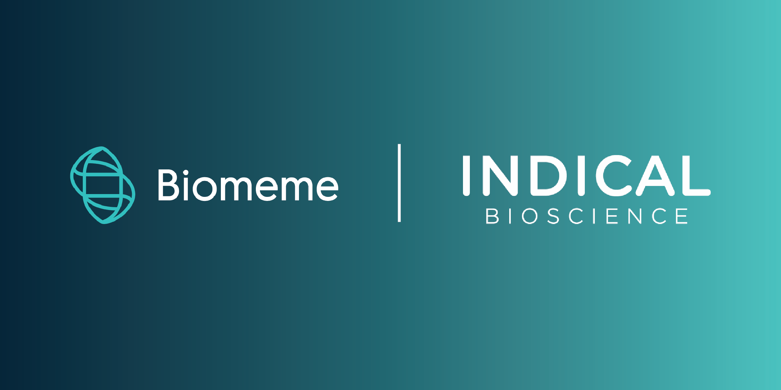 Biomeme logo and Indical biosciences logo on a gradient